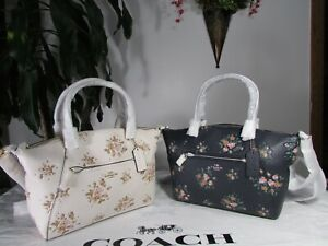 NWT Coach Pebble Leather Prairie Satchel With Rose Bouquet Print 91603
