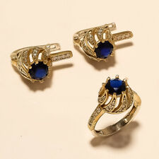 Natural Ceylon Sapphire Ring Earring 925 Sterling Silver Turkish TwoTone Jewelry