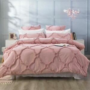 Renee Taylor Moroccan Cotton Chenille Tufted Quilt Cover Set-Blush