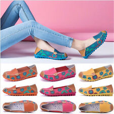 Womens Floral Boat Shoes Slip On Ballet Flats Loafers Single Shoes Moccasins