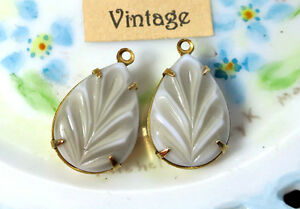 """#827G Vintage Charms Gray Pressed Glass Brass Set Prong Dangles Drops NOS 3/4"""""""