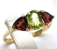 SYJEWELLERY FINE 9CT SOLID YELLOW GOLD NATURAL PERIDOT & GARNET RING SINE N R849
