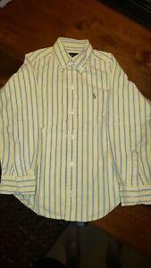 Ralph Lauren Yellow/Blue Striped Pony Logo Oxford Button Up Shirt, Boys Size 5