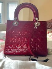 Red Lady Dior Calfskin Patent Bag authenticity card brand new condition