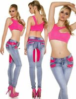 Sexy Women Skinny Jeans Ladies Denim Trouser Clubbing Pink Pant Size 8 10 12 14