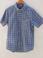 Fantastic CRAGHOPPERS Mens Blue Crinkle Short Sleeve Check Shirt size S / 36-38""
