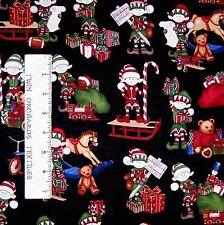 Christmas Fabric - Holly Jolly Elves & Holiday Toys Black - RJR Dan Morris YARD