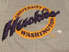 Vintage 1988's Huskies University Of Washington 50/50% Gray T Shirt. Size M