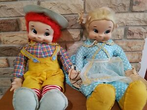 Vintage Rushton Jack and Jill Dolls 22 inches Tall