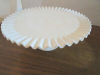 Vintage Fenton White Milk Glass Hobnail Pedestal Cake Plate Footed Stand Ruffled
