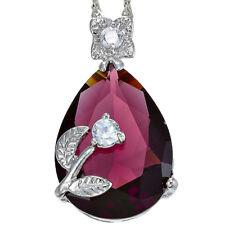 Melina Jewelry Melina Pear Cut Pink Purple Sapphire Amethyst Pendant Necklace