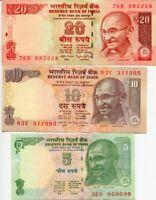 INDIA SET 3 PCS 5 10 20 RUPEES RANDOM DATE P 102 103 NEW UNC