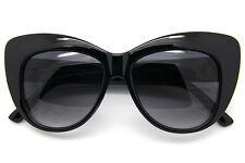 Ojos de Gato Grande Mujer Gafas Sol Grueso Retro Marco Negro Gris Marrón
