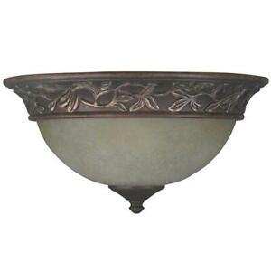 Venetian Bronze Flush Mount with Champagne Scavo Glass Shade, Mediterranean