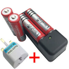 4 X 18650 3.7V 6800mAh Li-ion Rechargeable Battery with 4.2V Charger+UK Adaptor