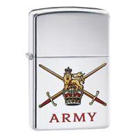 GENUINE ZIPPO LIGHTER HIGH POLISH CHROME BRITISH ARMY, OFFICIAL CREST MILITARY