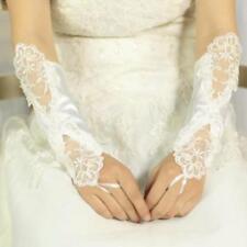 Gants Mitaines de Mariée Mariage En Satin Avec Paillette et Perles Ivoire
