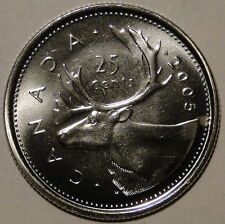 BU UNC Canada 2005 quarter 25 cent 25c regular caribou coin from mint roll