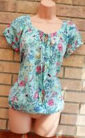 WALLIS MINT GREEN PINK FLORAL BUTTERFLY TIE NECK COTTON GYPSY BLOUSE TOP SHIRT M