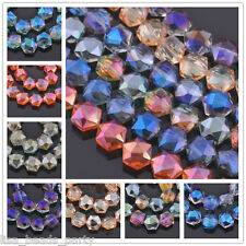 10/20pcs 12mm Hexagon Faceted Crystal Glass Jewelry Charms Loose Spacer Beads