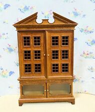 Dollhouse Miniature Wooden Walnut Display Cabinet