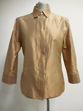 Stunning Bogner 100% silk shirt red orange bronze tones fine check US10 UK14