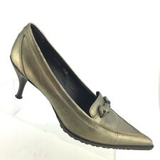 Donald Pliner Couture RAPID Pointy Toe Gold Brushed Leather Heel Womens SIZE 8.5