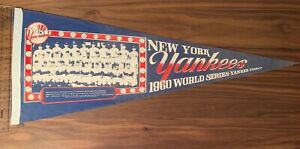 1960 Original Full-Sized New York Yankees Team Photo Pennant w/ Mickey Mantle