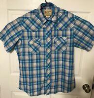 Wrangler Western Cowboy Pearl Snap Button Down S/S Shirt Men's Large Blue Plaid