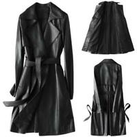 British Women Leather Coat Long Sheepskin Tailored Collar Belt Trench Jackets L