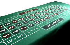 """Craps & Roulette Green Casino Gaming Table Felt Layout, 72"""" x 36"""""""