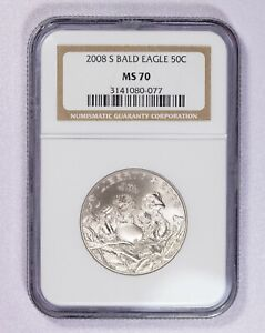 2008 S NGC MS70 Bald Eagle Commemorative Half Dollar Item#J7029