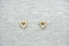 Echter Edelsteine-Ohrschmuck aus Gelbgold mit Herz und Butterfly-Verschluss für Damen
