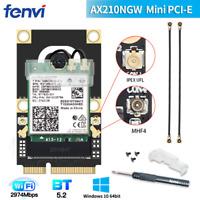 WiFi 6E Card Intel AX210 AX210NGW M.2 Bluetooth 5.2 Card with Mini PCIe Adapter