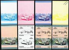 1932 DUESENBERG SJ Car Stamps (1984 St Lucia Progressive Proofs / Auto 100)