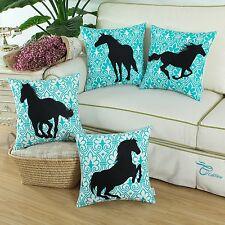 Set of 4 CaliTime Pillow Shells Cushion Covers Black Shadow Horses Printed 45cm