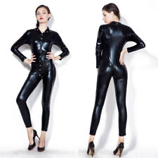 Women's Black Leather Lingerie Bodysuits Erotic Latex Catsuit Catwomen Costume