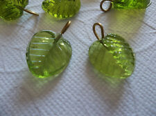 12 Olive Green Glass Leaf Charms Beads Leaves w Brass Loops 13mm X 12mm