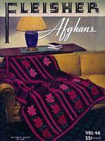 Fleisher's #46 c.1937 Vintage Patterns for Colorful Afghans in Crochet