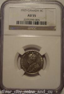 Canada George V KeyDate 1925 Five Cents - NGC AU-55