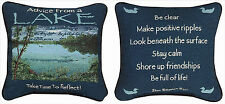 PILLOWS - ADVICE FROM A LAKE REVERSIBLE TAPESTRY PILLOW - LAKE HOUSE DECOR