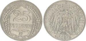 Kaiserreich 25 Pfennig J.18 1909 D prägefrisch 50908