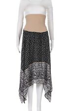 MOTHERHOOD Maternity Skirt Medium Black White Paisley Midi Boho Tummy