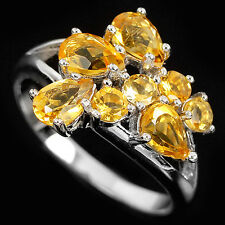 Natural Orange Yellow CITRINE Stones 925 STERLING SILVER RING S9.0
