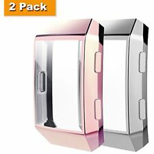 2-Pack All-around Full Protective Case For Fitbit Ionic Smart Watch Rose-Silver