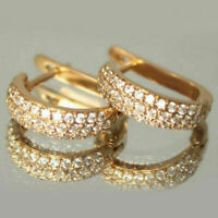 14k Yellow Gold Over 1.00 Ct Diamond Round Cut Hoop Huggie Earrings For Women's