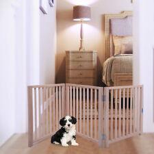 "3 Panel Pet Dog Free Standing Folding Solid Wood Playpen Divider Fence 17.5"""
