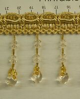 10 Yards Beaded FRINGE Trim for DRAPERY and UPHOLSTERY in  Gold//Off White Color