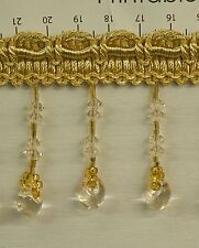 10 Yards Beaded FRINGE Trim for DRAPERY and UPHOLSTERY in  Gold/Off White Color