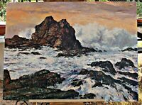 Orig Oil on Masonite, California Artist Luis McManus, Big Sur, Brush & Knife,